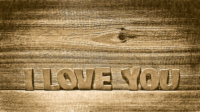 I Love You written on wood