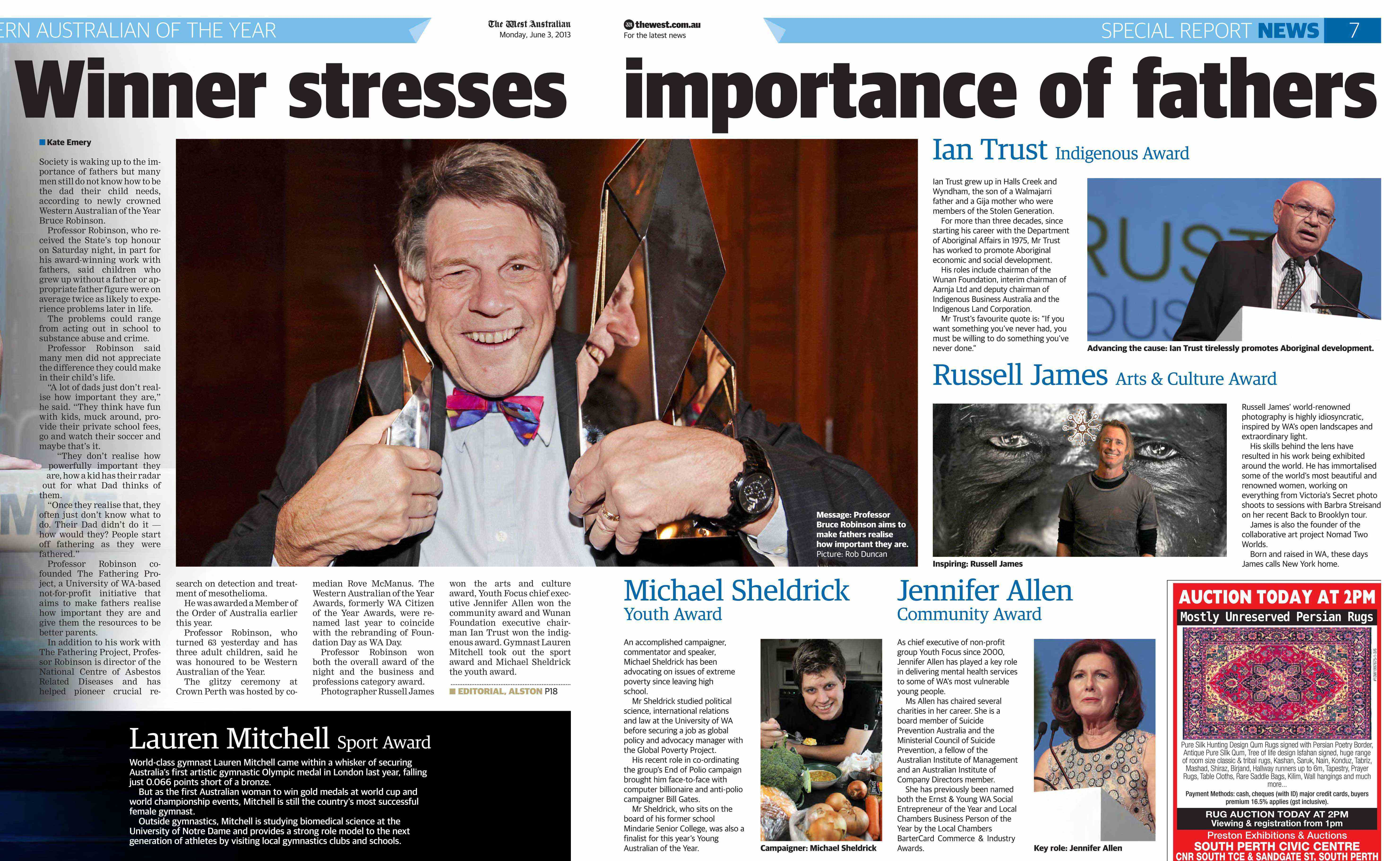 Article on Bruce Robinson's Western Australian of the Year 2013 Award